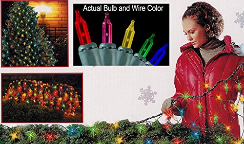Multicolored Net (Sienna Multicolored Mini Net Style Christmas Lights with Green Wire, 4' x 6')