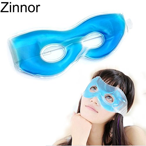 Blue Eye Mask Gel (Zinnor Hot/Cold Gel Eye Mask Eye Care Ice Compress Blue Gel Eye Fatigue Relief Cooling Mask Relaxation Eyes Pad Masks with Straps for Soothing Puffy Eyes, Swollen Eyes, Dark Circles, Stress (Eye Mask))