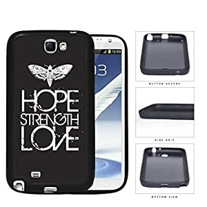 Butterfly Hope Strength Love Eroding Rubber Silicone TPU Cell Phone Case Samsung Galaxy Note 2 II N7100