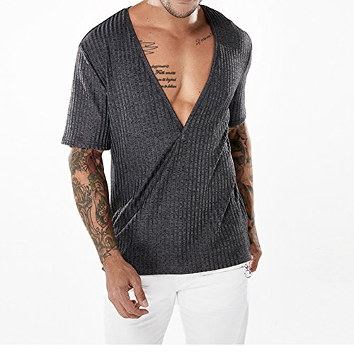Tinta Maglietta Della shirt Moda Unita Abbigliamento Estate V Casual Tees Grigio T Corta Scuro Uomo Manica Collare Bxwd0q1f8