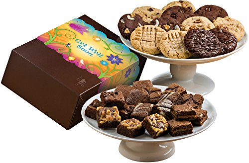[Fairytale Brownies Get Well Deluxe Cookie & Magic Morsel Combo Gourmet Food Gift Basket Chocolate Box - 1.5 Inch x 1.5 Inch Bite-Size Brownies and 3.25 Inch Cookies - 30 Pieces] (Get Well Cookies)