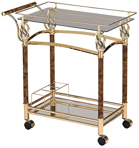 Acme Furniture 98002 Helmut Serving Cart, Golden Plated Clear Glass