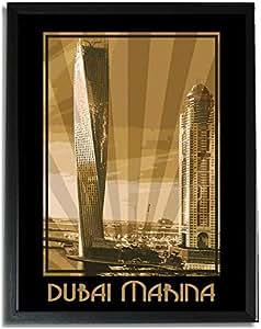 Dubai Marina- Sepia F09-nm (a4) - Framed