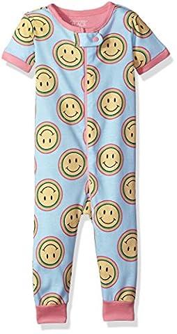 The Children's Place Baby Girls' Short Sleeve One-Piece Pajamas, Coast Blue 81720, 0-3MONTHS - Short Sleeve Zipper