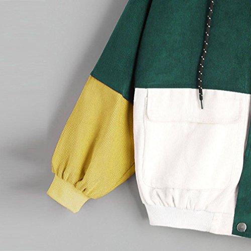 Top Jacket Women Windbreaker Coat Zipper Patchwork Green Corduroy Hooded Overcoat Long Oversize Sleeve HARRYSTORE wfdqZcPRq