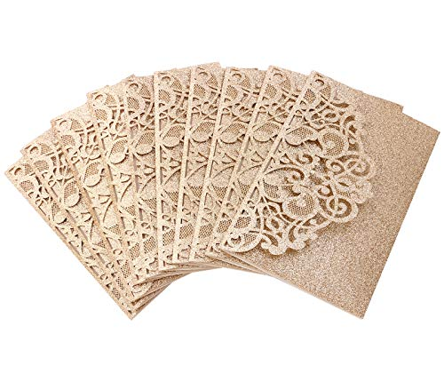 Driew Wedding Invitations with Envelopes, 12 pcs Laser Cut Invitation with RSVP Cards for Wedding Engagement Bridal Baby Shower Business Event Shimmer Elegant Chic Rustic (Style#2)