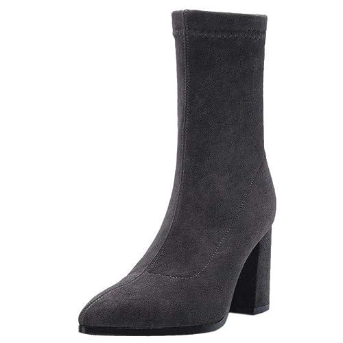 RAZAMAZA Mujer Moda Tacón Ancho Botas sin Cordones  Amazon.es  Zapatos y  complementos 801b898172b25
