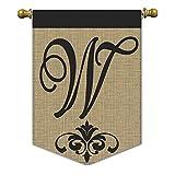 Magnolia 01840 Monogram W Burlap Garden Flag, 13″ x 18″