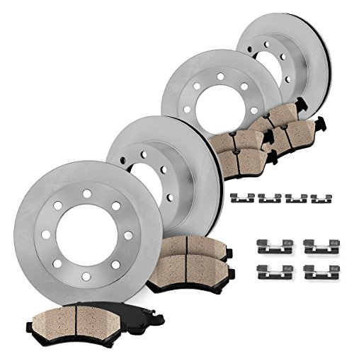 Super Duty Rotor F250 Pickup ([ 4WD ] FRONT 346.96 mm + REAR 340 mm Premium OE 8 Lug [4] Rotors + [8] Quiet Low Dust Ceramic Brake Pads + Clips)