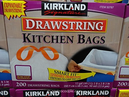 Kitchen Bags, 200 CT, with expandable drawstring, 13gal 3 Pack by Kirkland Signature (Image #1)