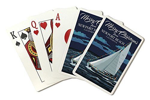 Merry Christmas from Newport Beach, California - Christmas Lights Sailboat (Playing Card Deck - 52 Card Poker Size with Jokers)