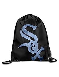 Chicago White Sox Black Pond Logo GYM Drawstring Backpack Bag