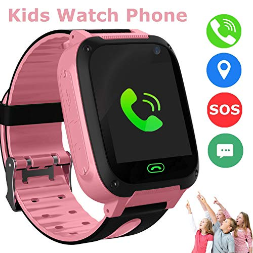 Kids Smart Watch, Children Phone Watch GPS Tracker SmartWatch for 3-12 Year Old Girls Boys Toys Gift SOS Call Pedometer Camera Touch Screen Bracelet (Pink)
