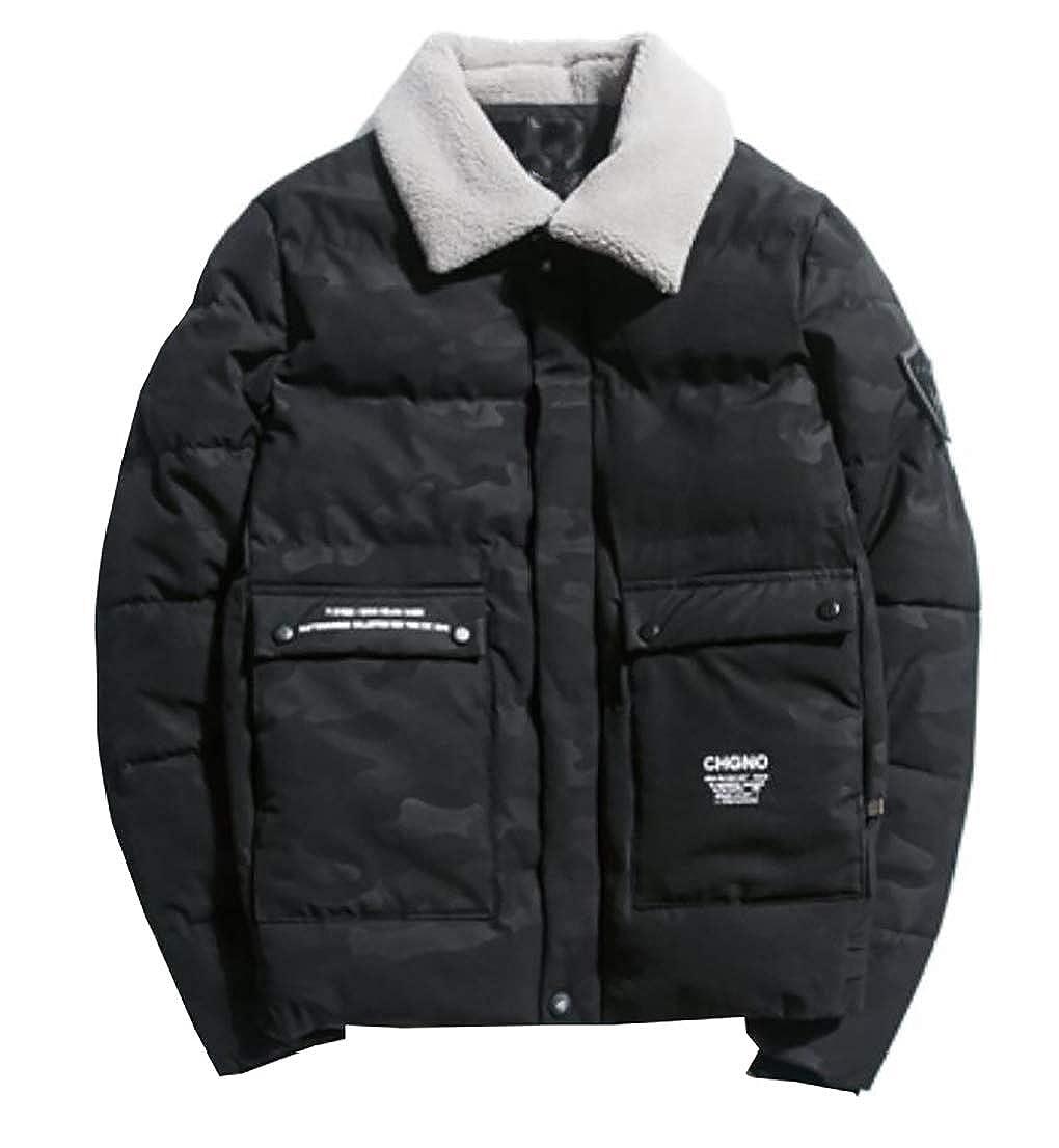Alion Men Slim Warm Zipper Quilted Puffer Fleece Neck Down Jacket Coat