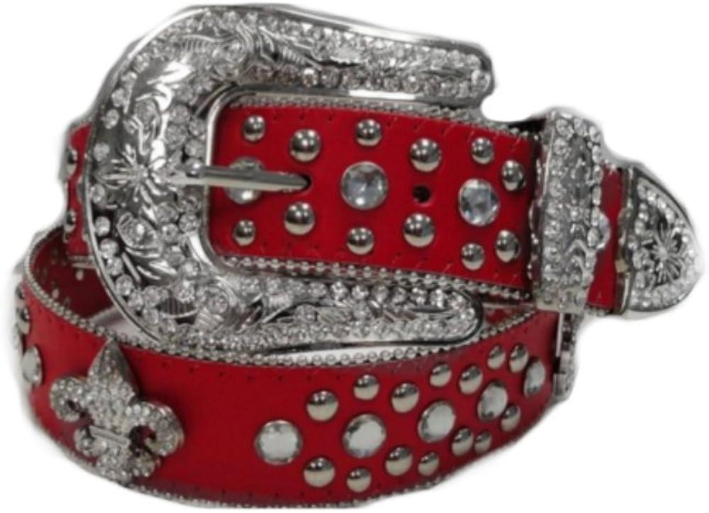 Deal Fashionista Fleur de Lis Concho RED Western Rhinestone Bling Studded Buckle Belt