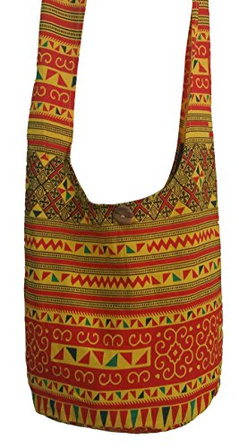 Hippie Hobo Bag Print Sling Purse Bag Shoulder Crossbody Orange Yellow Handmade Cotton BELLEZAS Zip p64anwxqp