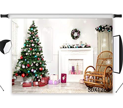 LB 7 x 5 ft árbol de Navidad fotografía Fondo de Navidad Chimenea Regalos balancín Silla fotografía Fondo imágenes...