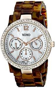 XOXO Women's XO5525 Tortoise Bracelet with Rhinestones on Rose Gold Case Watch