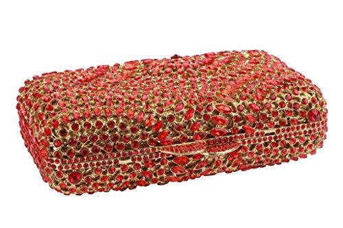 Yilongsheng Glitter piedras Square señoras de los bolsos de embrague con forma de anillo Rojo