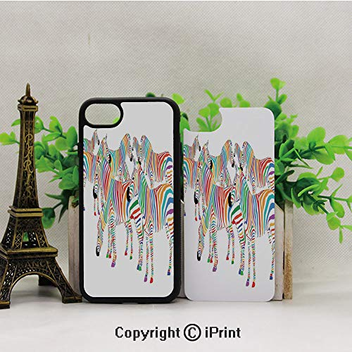 iPhone 8 Case,iPhone 7 Case,Colorful-Cute-Animal-Herd-with-Rainbow-Stripes-Figure-Digital-Art-Print-Modern-Safari,Lining Hard Shell Shockproof Full-Body Protective Case Cover ()