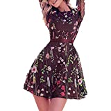 Women's A-Line Short Skirts Fashion Floral Embroidered Party Dress Lace Mesh Double Layer Mini Dress (S, Purple)