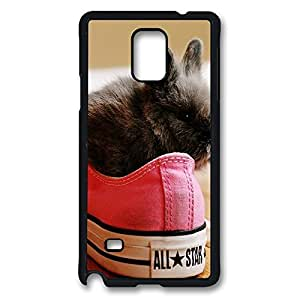 Galaxy Note 4 Case, Cute Black Bunny Pink Converse All Star Ideas Design Print Pattern Perfection Case [Anti-Slip Feature] [Perfect Slim Fit] Plastic Case Hard Black Covers for Samsung Galaxy Note 4