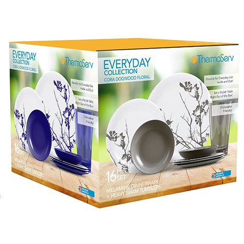 ThermoServ Everyday Collection - Cora, Dogwood Floral, 16 Piece Melamine Dinnerware Set (Service for 4) by ThermoServ