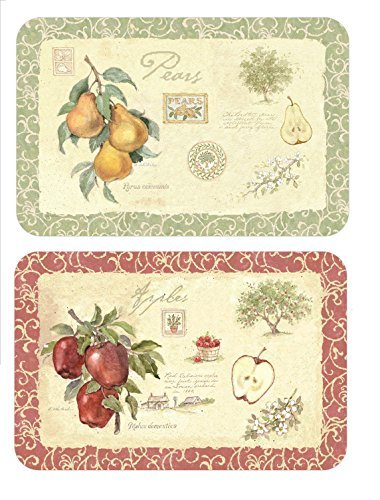Wipe-Clean Reversible Plastic Placemats - Set of 4 - Old Orchard Apple/ Pear