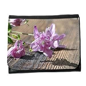 le portefeuille de grands luxe femmes avec beaucoup de compartiments // M00314800 Columbine flor rosada de las Plantas // Small Size Wallet