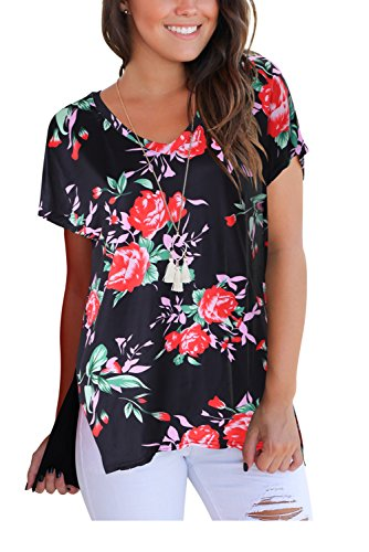 FAVALIVE Women Print Tops Short Sleeve Casual T Shirt V Neck Flower Black M ()