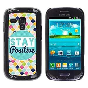 Caucho caso de Shell duro de la cubierta de accesorios de protección BY RAYDREAMMM - Samsung Galaxy S3 MINI NOT REGULAR! I8190 I8190N - Stay Positive Scale Pattern Colorful