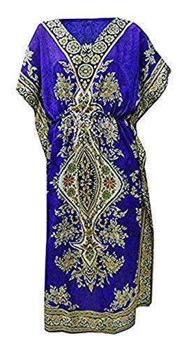 Women's Long Kaftan Dress Maxi Caftan Dress Gown Top Night Dress Royal Blue ()