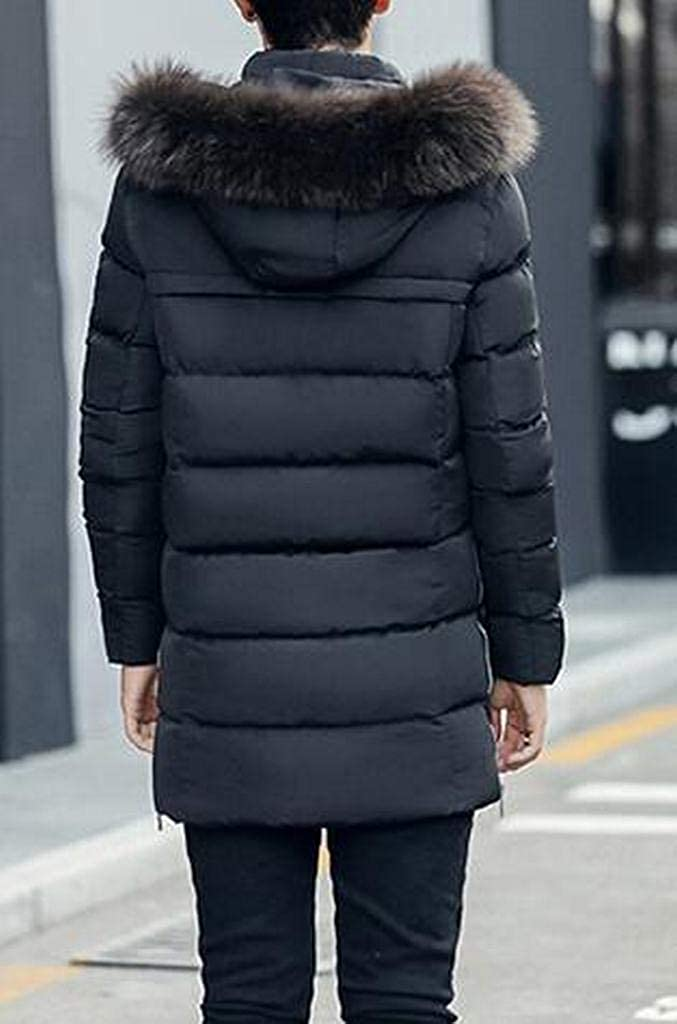 Jotebriyo Mens Relaxed Fit Winter Hooded Faux Fur Collar Down Quilted Jacket Coat Parka