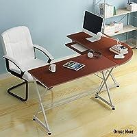 Oshion L-Shape Computer Desk PC Wood Laptop Table Workstation Corner Home Office (Brown)