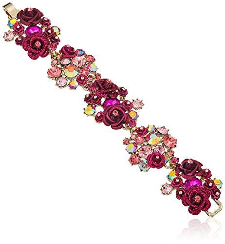Johnson Betsey Bracelet Womens (Betsey Johnson Roses Gold and Pink Floral Cluster Bracelet)