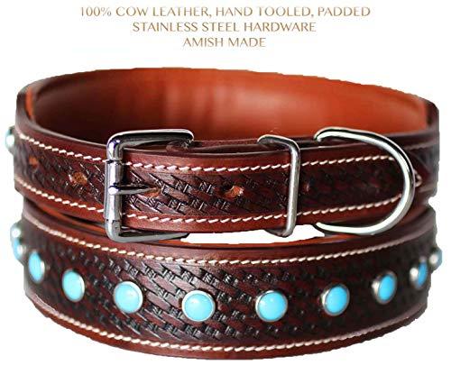 PRORIDER Medium 17''- 21'' Rhinestone Dog Puppy Collar Crystal Cow Leather Western 6042