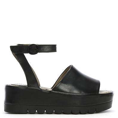 9c1a826593a2 Fly London Booz Black Leather Flatform Sandals 42 Black Leather ...