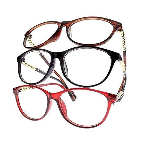 Women Classic Oversize Rhinestone Reader Reading Glasses +1.0 +2.0 +3.0 +4.0 New (Black & Red & Brown, 2.00) (Rhinestone Reading Brown Glasses)