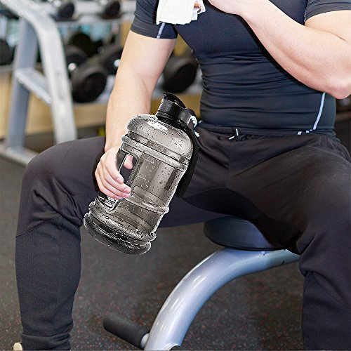 ENINE 2.2L Large Sport Water Bottle BPA Free Plastic Big Capacity Leakproof Water Jug Container with Carrying Loop Fitness for Camping Training Bicycle Hiking Gym Outdoor Sports (Black) by ENINE (Image #7)