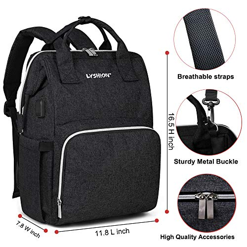 Diaper Bag Backpack,Multifunction Travel Maternity Baby Nappy Changing Bags with USB Charging Port (Dark Black)