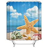 Morning-sunshine Nautical Shower Curtains Starfish Shell Shower Curtain- - Water, Soap, and Mildew Resistant Bathroom Decor Curtains (72Wx78H)