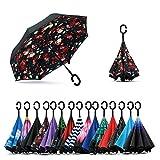 Jooayou Double Layer Inverted Umbrella, C Shape Handle Reverse Folding Umbrella, Anti-UV Windproof Travel Umbrella with Carrying Bag