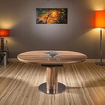 Quatropi Ausziehbarer Esstisch Rund/Oval Grau glänzend Tisch ...