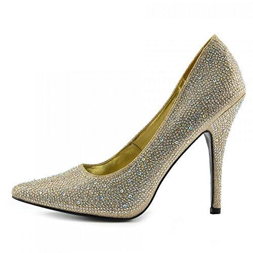 Kick Footwear Stilletto Black Heels Party Shoes Gold