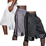 KS MENS HEAVY MESH Shorts Athletic Fitness Gym Sports Work Out Basketball S-5XL 1KSA0014 (X-Large (3) Set, BLK/CHA/WHT)