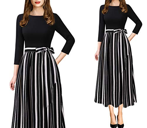 Womens Elegant Vintage Print Pockets Belted Business Casual Party Fit A-Line Midi Dress,Black White ()