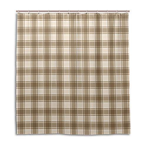 (Amanda Billy Lovely Light Checkered Pattern Natural Home Shower Curtain, Beaded Ring, Shower Curtain 72 x 72 Inches, Modern Decorative Waterproof Bathroom Curtains )