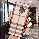 Boozuk Galaxy S9 Plus Case, Luxury PU Leather Large Vintage Check Style Shockproof Cover Case for Samsung Galaxy S9 Plus 6.2'