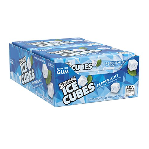 Ice Breakers Ice Cubes Sugar Free Peppermint Gum, 12 Pieces (Pack of 6)