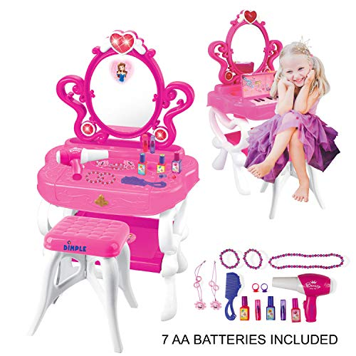 2-in-1 Musical Piano Vanity Set Girls Toy Makeup Accessories with Working Piano & Flashing Lights, Big Mirror, Pretend Cosmetics, Hair Dryer - Princess Image Appears in Mirror, 7 AA Batteries Included (Under Vanity Bedroom $100 Sets)